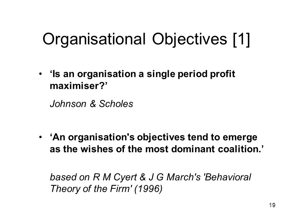 Organisational Objectives [1]